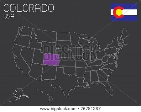Map Of The The United States Of America With One State Selected - Colorado