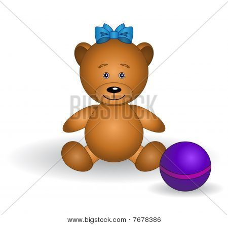 Bear-babe with a bow and a ball