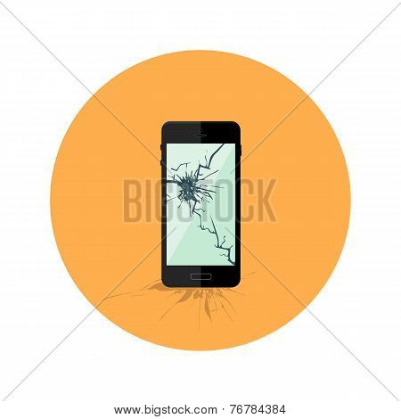 Black Broken Smartphone Flat Circle Icon