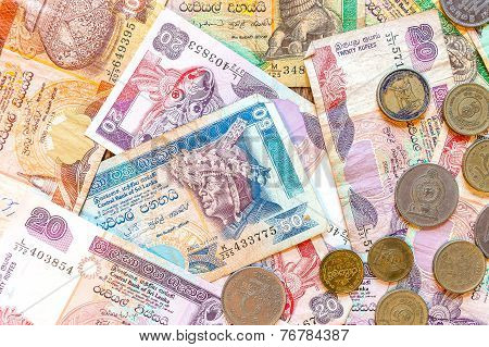 Sri Lanka Money Rupee, Banknotes And Coins.
