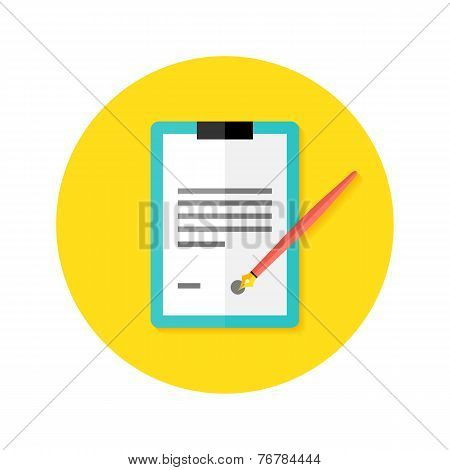 Contract Clipboard With Pen Flat Circle Icon