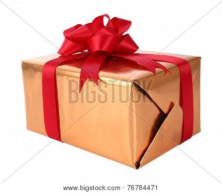 Gift box new year on white background.