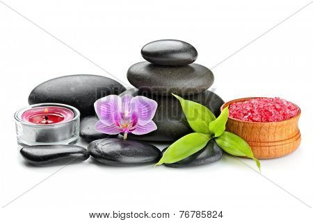 spa concept zen basalt stones and salt isolated on white
