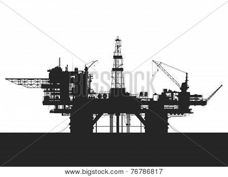 Sea oil rig. Oil platform in the sea. Detailed vector illustration.