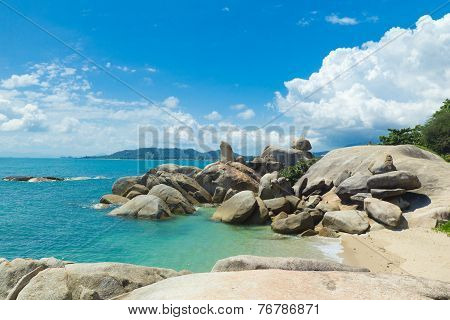 Bizarre Rock (hin Ta Hin Yai) Very Famous Landmark Of Koh Samui, Thailand