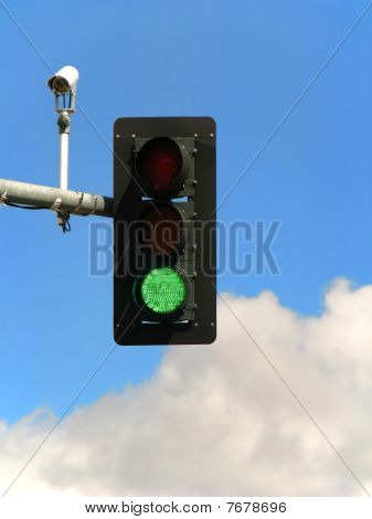 Green Traffic Light And Camera.