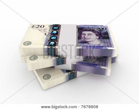 Stack Of 20 Pound Sterling Bills