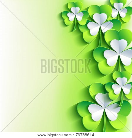 St. Patrick's Day Card With Green And Grey Leaf Clover