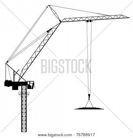 A Tower Crane in Silhouette - Vector EPS 8