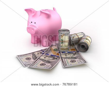 Piggy Bank with Money Rolls