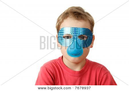 Portrait of boy in blue mask on white background