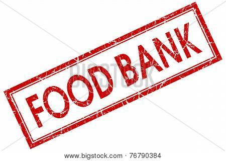 Food Bank Red Square Stamp Isolated On White Background