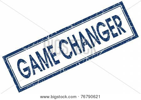 Game Changer Blue Square Stamp Isolated On White Background