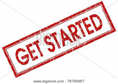 Get Started Red Square Stamp Isolated On White Background