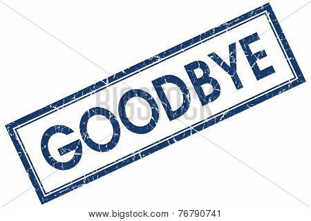 Goodbye Blue Square Stamp Isolated On White Background