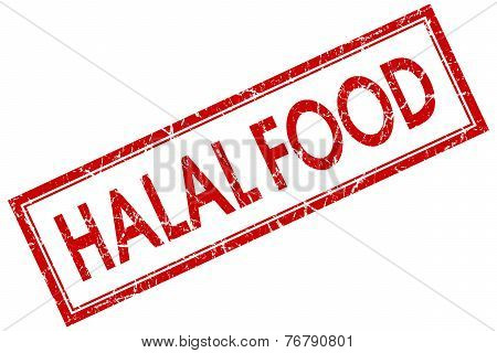 Halal Food Red Square Stamp Isolated On White Background