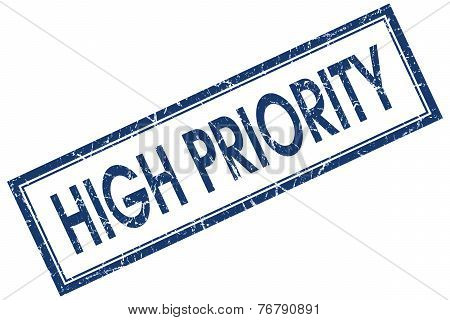 High Priority Blue Square Stamp Isolated On White Background