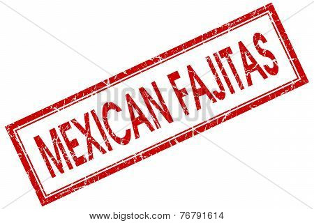 Mexican Fajitas Red Square Stamp Isolated On White Background