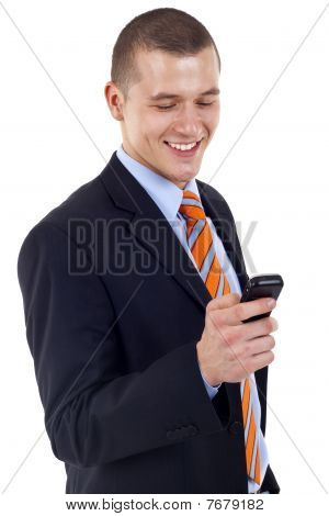 Businessman Texting On Phone