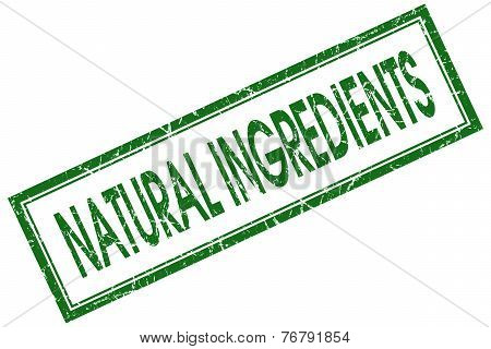 Natural Ingredients Green Square Stamp Isolated On White Background