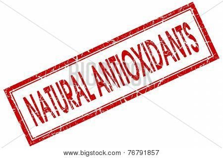 Natural Antioxidants Red Square Stamp Isolated On White Background