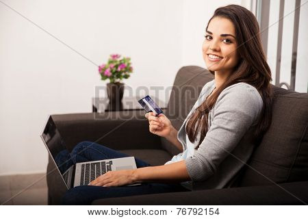 Cute Girl Shopping Online