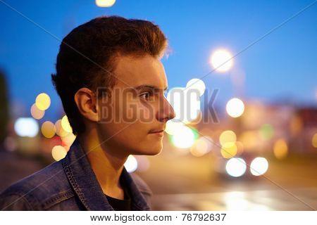 Teenager And City Lights