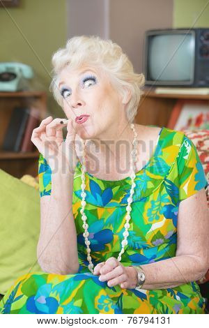 High Senior Lady Smoking