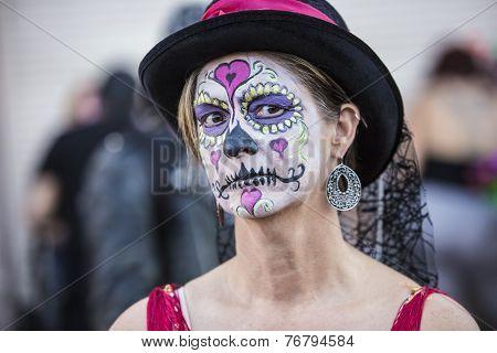 Female In Dia De Los Muertos Makeup