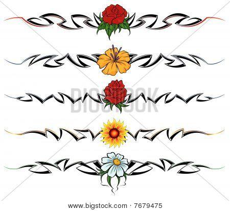 Tatuaje tribal de flores