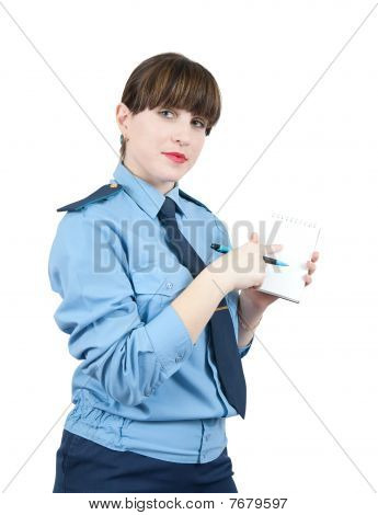Woman In Uniform Is Point At Blank