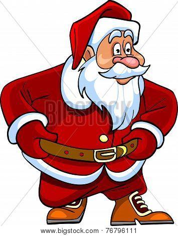 Cartoon Santa Claus Looking Curiously.