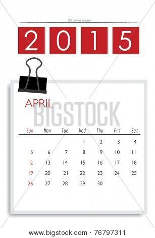 2015 calendar, monthly calendar template for April. Vector illustration.