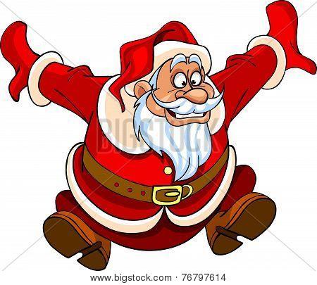 Cartoon Santa Claus Jumping With Joy.