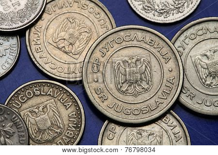 Coins of Yugoslavia. Yugoslav national coats of arms depicted on the Yugoslav novi dinar coins (2002).