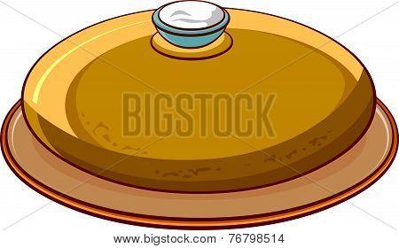Bread Round Loaf With Salt On A Platter.eps