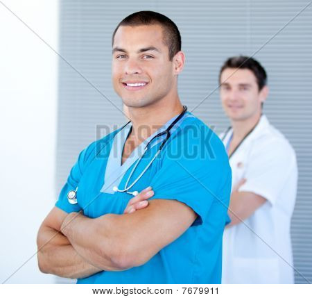 Handsome Male Doctor Looking At The Camera