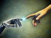 stock photo of science fiction  - Human hand touching an android hand - JPG