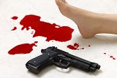 picture of gun shot wound  - concept shot of the crime scene of shooting - JPG