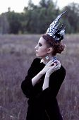 picture of evil queen  - evil queen with an apple in the field - JPG
