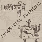 picture of mechanical drawing  - Vector hand draw retro mechanism on paper - JPG