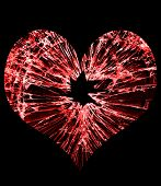 picture of glass heart  - red heart shaped glass with a hole in the middle - JPG