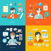 picture of programmers  - Professions concept with female travel agent - JPG