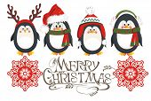 stock photo of merry  - Christmas card with cute penguins - JPG