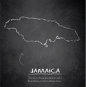 stock photo of greater antilles  - Jamaica map blackboard chalkboard vector template map - JPG