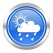 rain icon, blue button, waether forecast sign  poster
