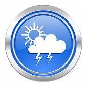 storm icon, blue button, waether forecast sign  poster
