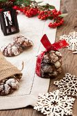 picture of desert christmas  - Closeup of melty Chocolate  - JPG