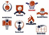 image of basketball  - Basketball tournament and emblem designs with wreath - JPG