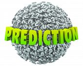 stock photo of guess  - Prediction words in 3d letters on a ball or sphere of question marks to illustrate guessing the future - JPG